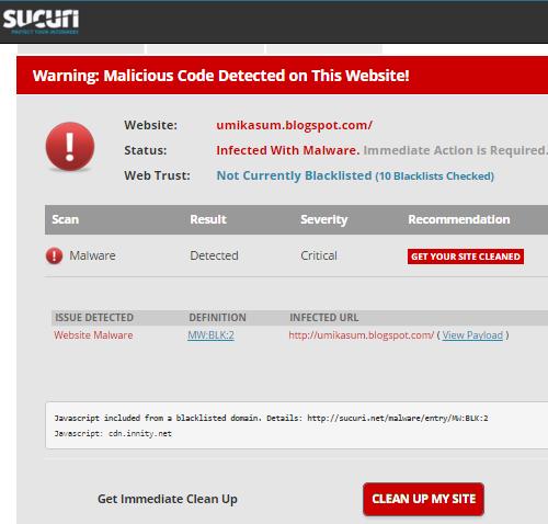 Script kod iklan Innity ada malware. Jom semak blog ada jangkitan malware ataupun tak dengan scan menggunakan Sucuri.Net.