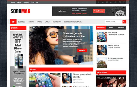 Download Sora Mag Responsive Blogger Template