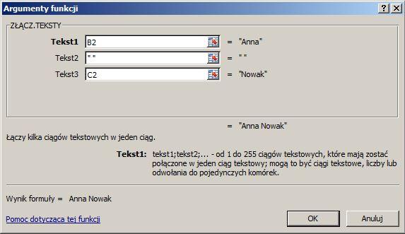 Jak połączyć imię i nazwisko - funkcja ZŁĄCZ.TEKSTY()