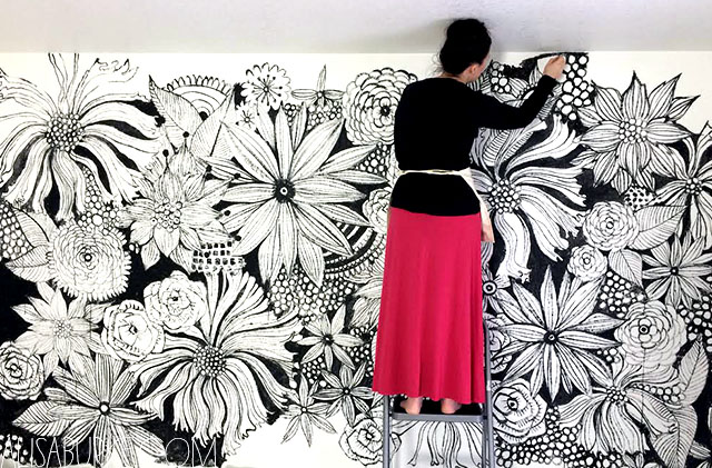 alisaburke: hand painted statement wall