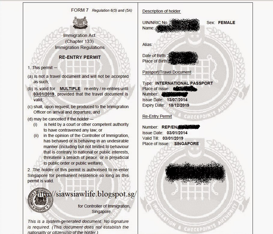 Step : transfer Re-Entry Permit (e-REP) Singapore after renew ...
