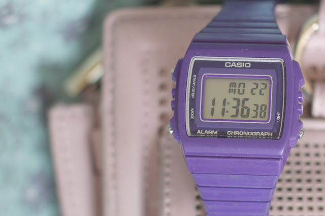 purple casio watch