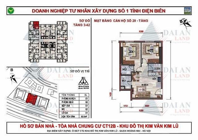 Căn 20 - Tòa CT12B Chung Cư Kim Văn Kim Lũ