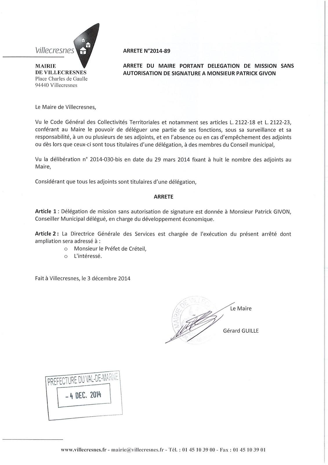 2014-089 Délégation de fonction mission sans autorisation de signature à Monsieur Patrick Givon
