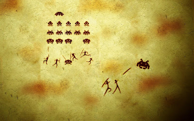 Fresque Space Invaders wallpaper
