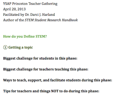 Screen Shot of YSAP Princeton Teacher Gathering: Link to Google Doc for workshop