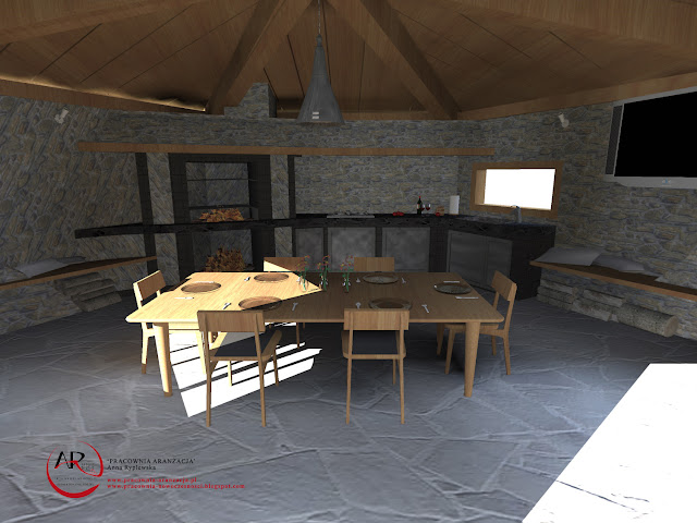 projekt wnętrza z kamieniem