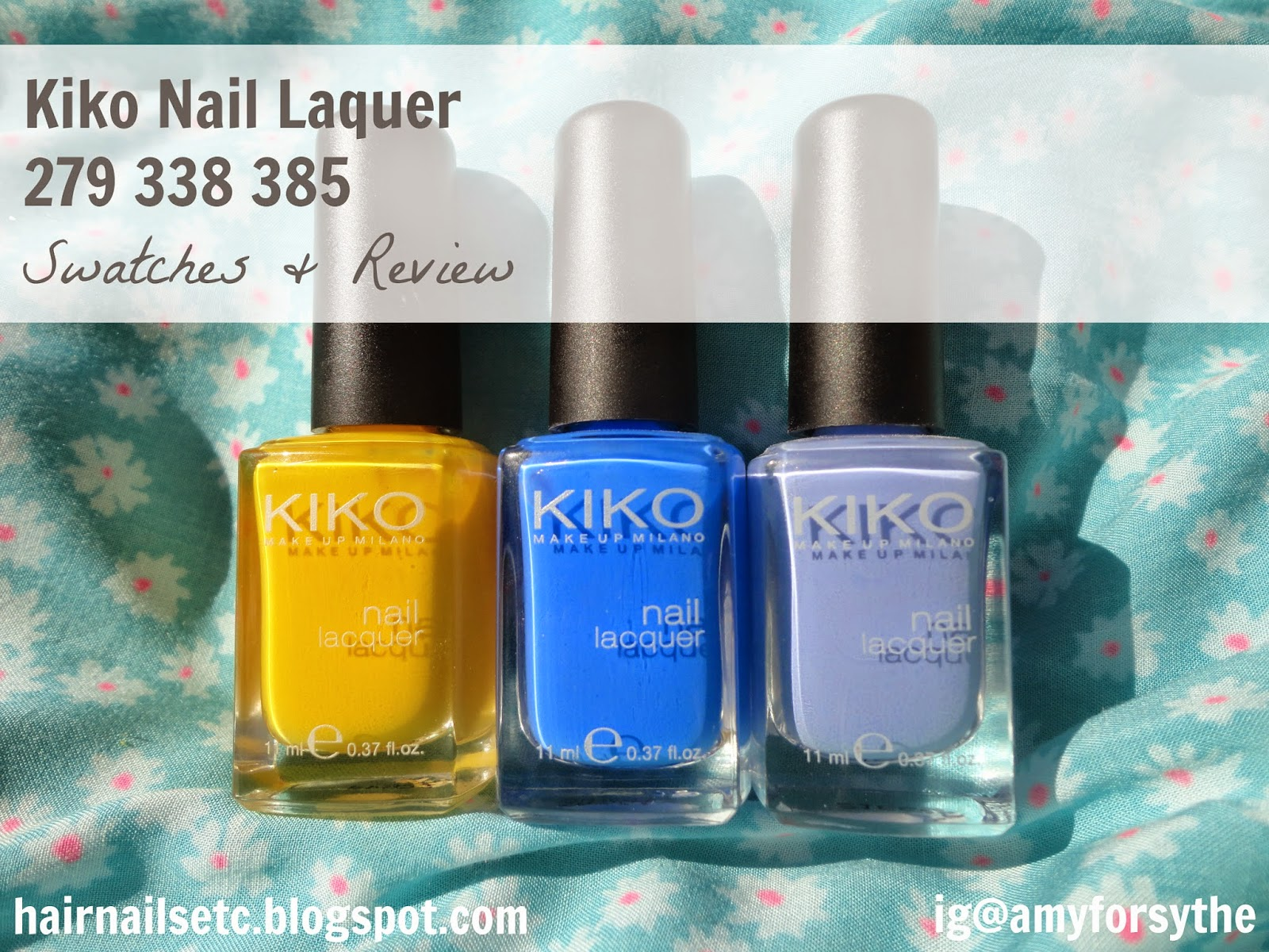 Kiko Nail Polish Review and Swatches 279 Yellow, 228 Light Lavender and 385 Pastel Blue
