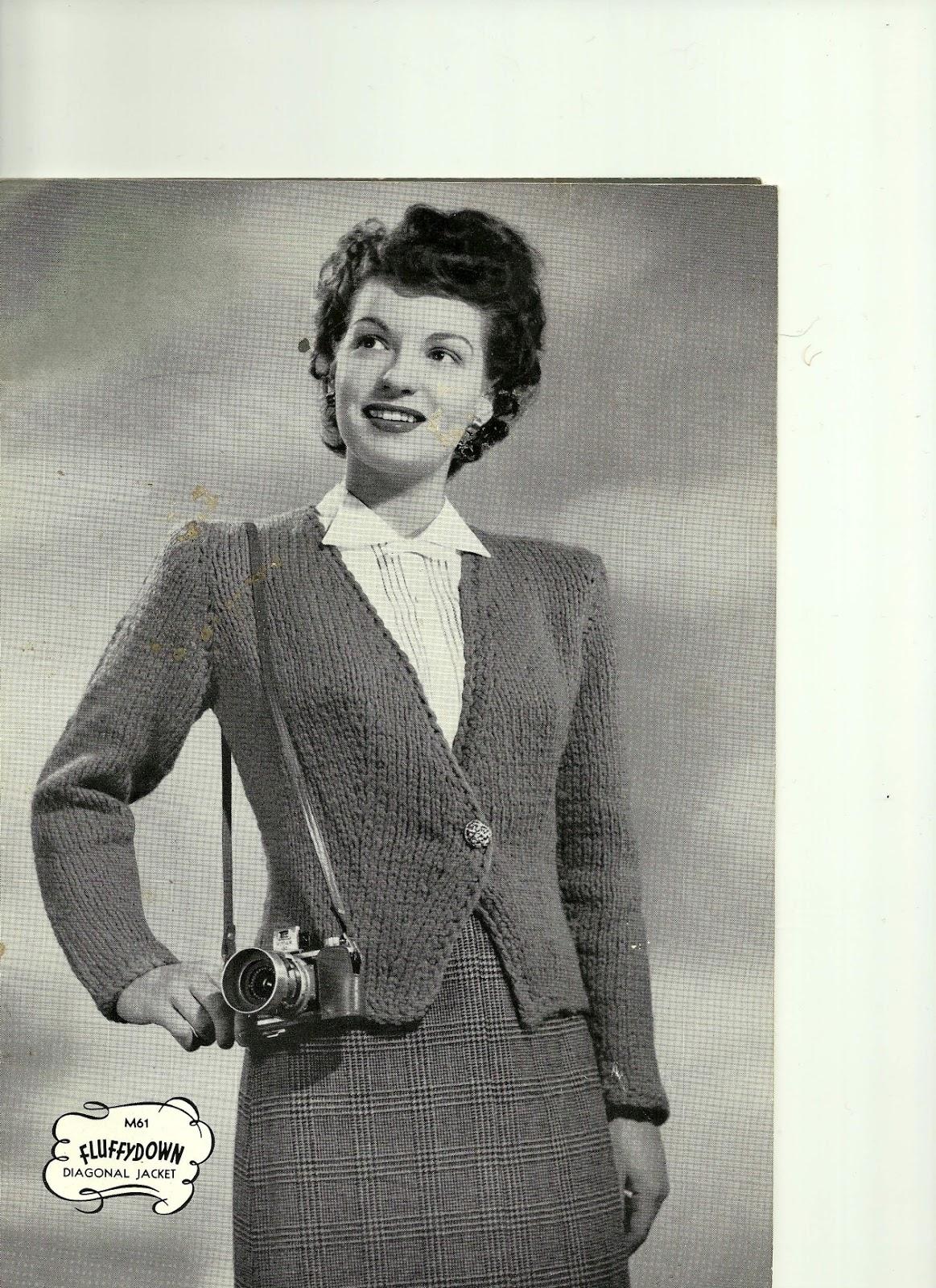 Snoodlebug: Free vintage knitting pattern - chunky diagonal jacket