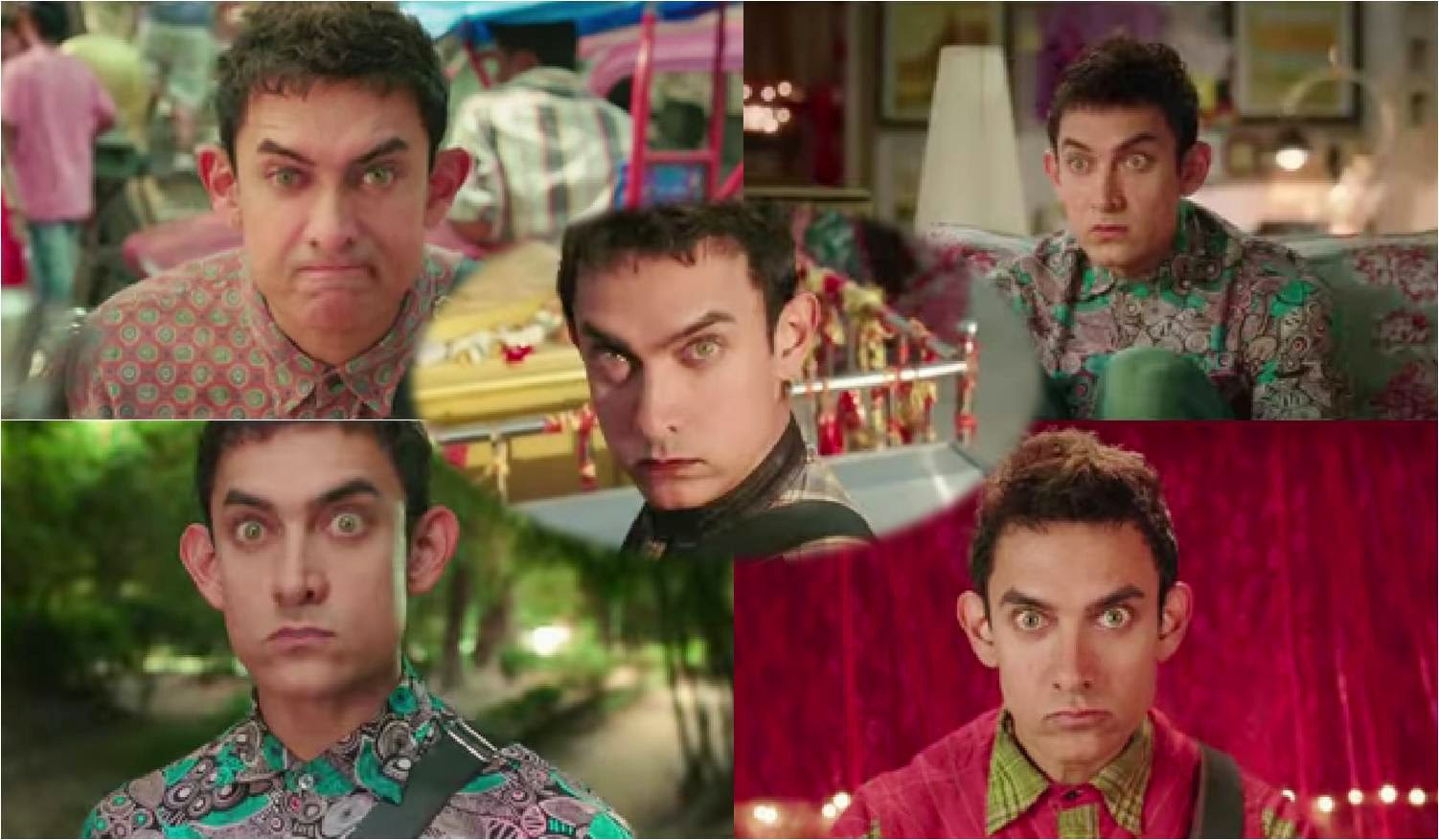 Aamir Khan in various expressions with wide eyes in Bollywood movie PK