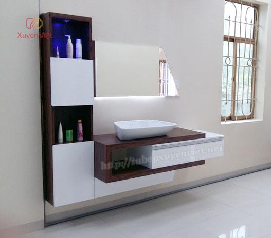 Mẫu tủ lavabo cao cấp kết hợp dán laminate và sơn men bóng