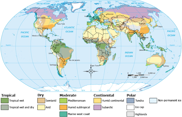 Earth Climate Zones Map