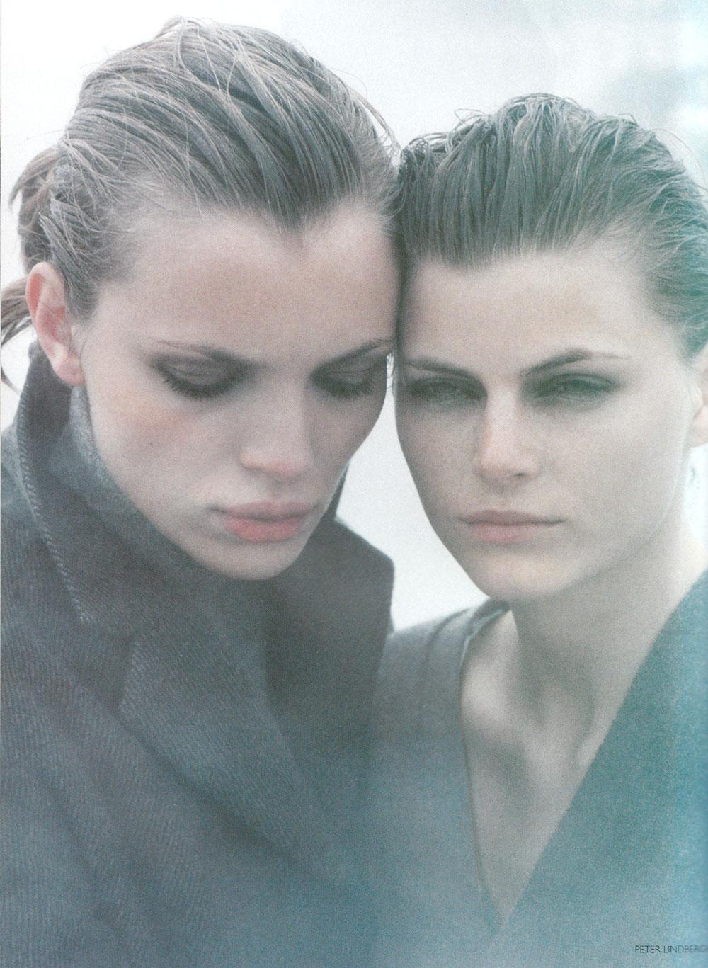 Natalia Semanova, Esther Canadas & Mini Arden in Smoke Screen editorial | Vogue UK September 1997 (photography: Peter Lindbergh, styling: Tiina Laakkonen)