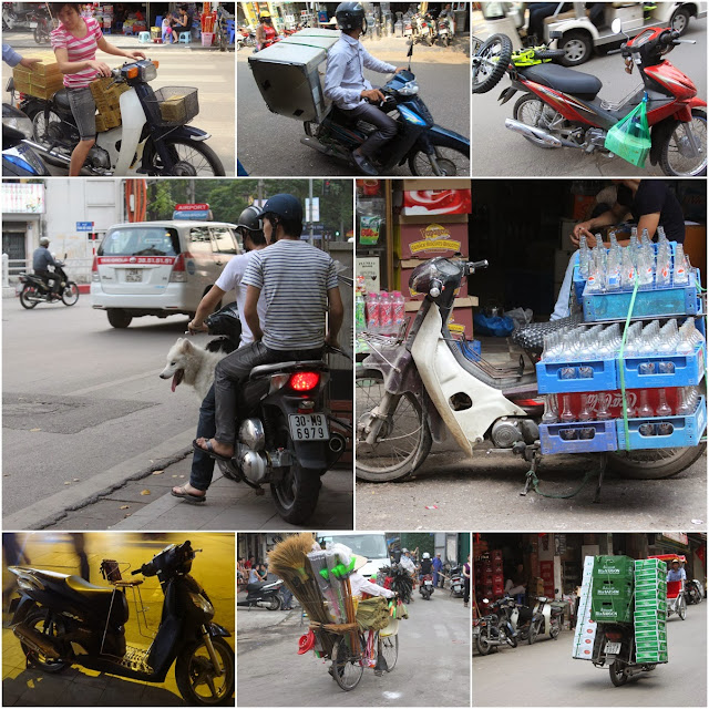 The main mode of two wheels transportation (motorcycle) to transport things and humans in Hanoi, Vietnam