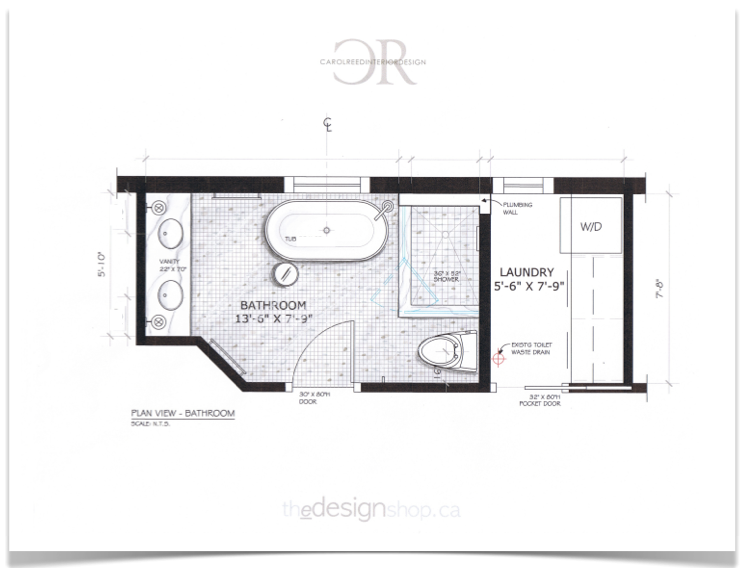 Creed e design bathroom before after plan for Laundry bathroom floor plans