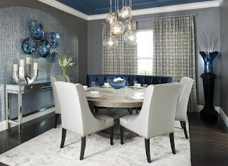 Gorgeous Bubble Lamps in the Modern Dining Room Decorating Ideas with Rounded Table and Blue Curve Bench