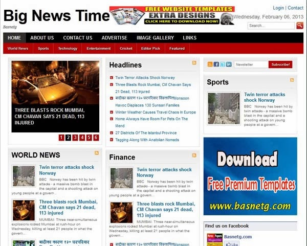 Big News - Free News Blogger Template