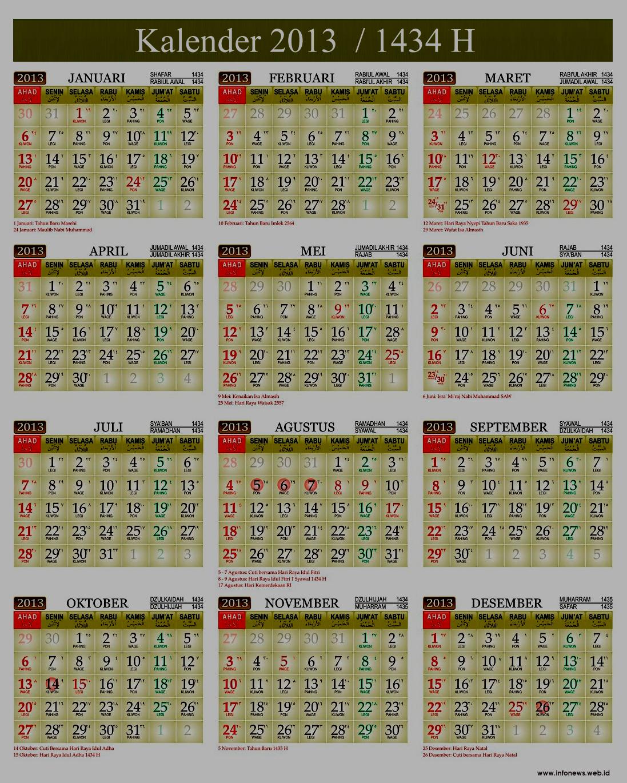 Demikianlah sajian Kalender 2013M / 1434H ini, semoga bermanfaat.