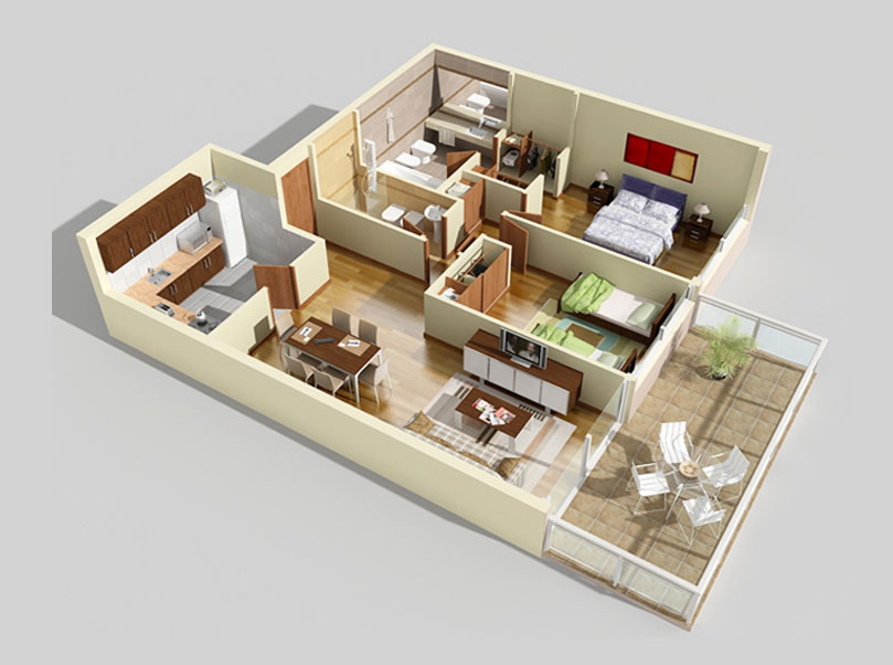 3d gun image 3d floor plans for Floorplans 3d