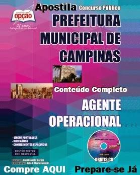 Apostila para o Concurso Publico da Prefeitura de Campinas (SP) COMPLETAS cargo Agente Operacional - Edital 2014.