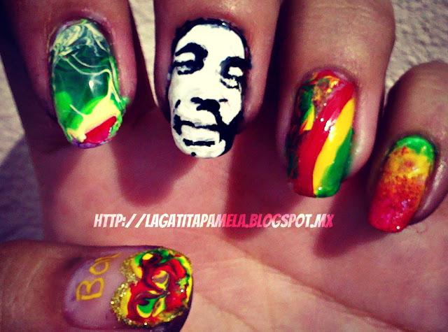 bob marley nail art