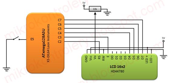 Schemat podłączenia wyświetlacza LCD HD44780 do mikrokontrolera XMega.