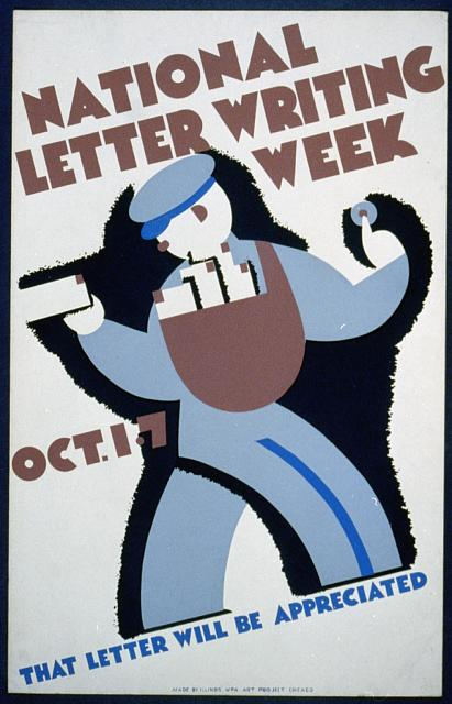vintage, vintage posters, graphic, graphic design, retro prints, art, united states, wpa, letter writing, National Letter Writing Week Vintage Poster - That Letter Will be Appreciated