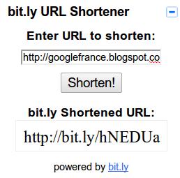 Gmail URL Shortener Gadget