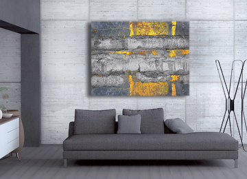abstract, art, grey, yellow, canvas art, wall art, contemporary, modern,
