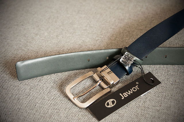 Szaro-granatowy pasek dwustronny Jawor JW07
