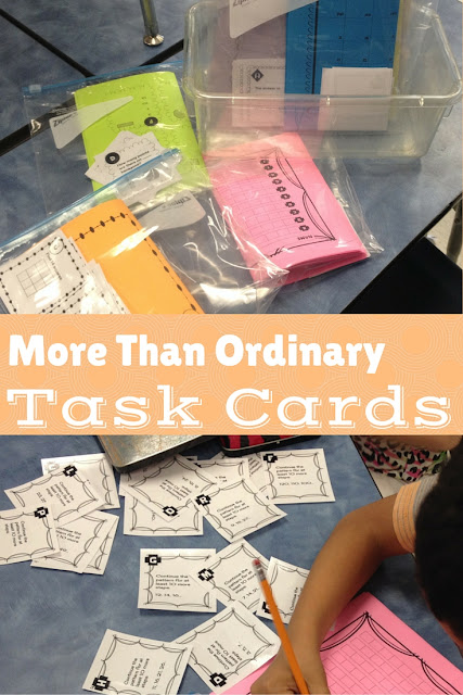 First grade math task cards--9 sets of task cards from Not very fancy in 1st.