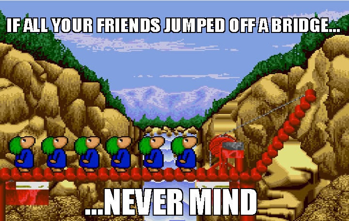 Lemmings game jumping off a cliff - photo#22
