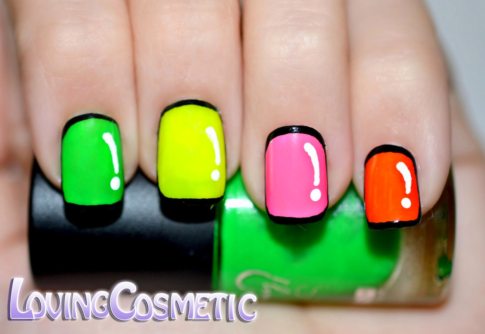 Nail art cartoon Comic Nails neon colour diseño uñas ilovemynails carobels