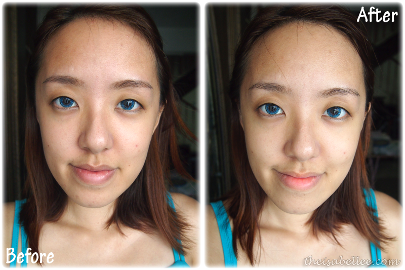 Before and after results from using jelly mask