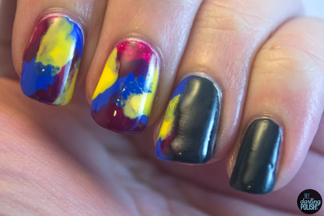 nails, nail art, nail polish, splodges, grey, gradient, hey darling polish, music monday