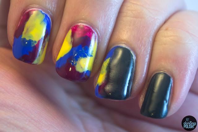 nails, nail art, nail polish, splodges, grey, gradient, hey darling polish, music monday