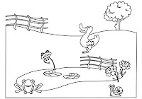 Duck and frogs at pond in farm animals coloring book by Robert Aaron Wiley for Microsoft Office Online