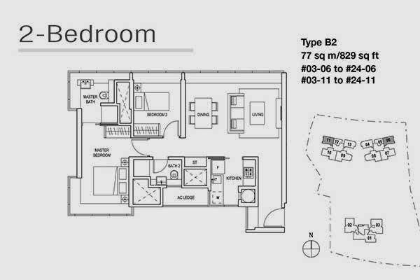 Skyline Residences 2 Bedroom Floor Plan