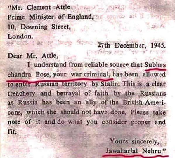 Noted historian Ramchandra Guha has dismissed a letter that was allegedly written by Jawaharlal Nehru calling Subhas Chanrda Bose a war criminal as fake .  The controversial letter on Netaji, which has been attributed to Nehru is dated Dec 27, 1945. It is addressed to Prime Minister of England, Clement Attlee, and refers to Netaji as a 'war criminal.'  The letter has been in circulation for sometime and different variants of it have been in circulation in social media for sometime now. There is one version loaded with spelling mistakes, typing Downing street as Down street.