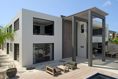 cube buildings - villas - tropical house - white house residence