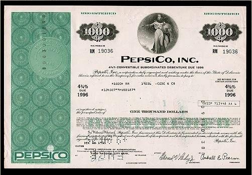 Ações da Pepsi em 1996.