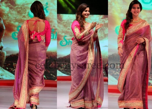 Samantha Pink Chanderi Silk Saree