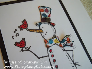 Card made with Stampin'UP! stamp set Snow Much Fun and colored with (DSP) Designer papers