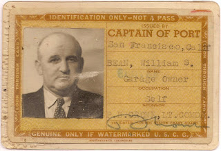 Bill Bean port identification card 1942