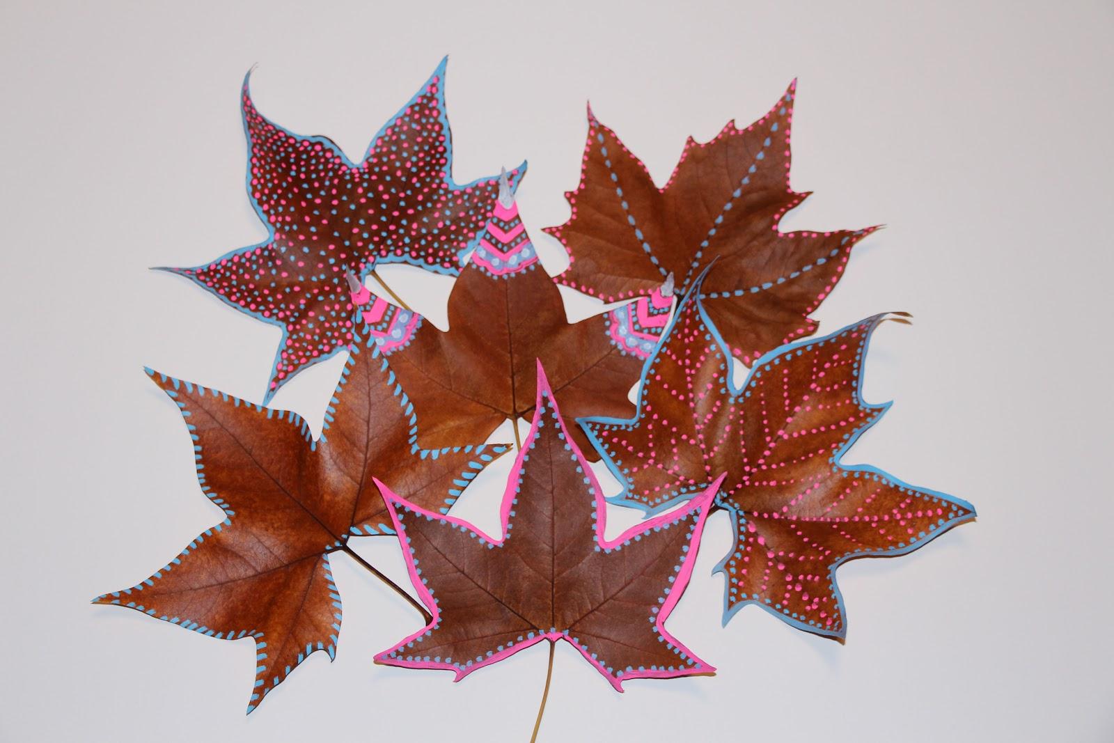 Mardefiesta hojas pintadas - Decorar hojas de otono ...