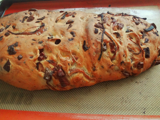 halloumi olive onion and herb bread