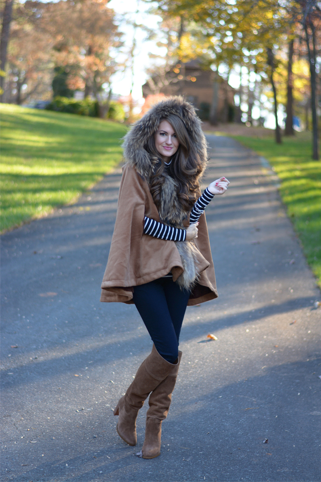 Faux fur cape…