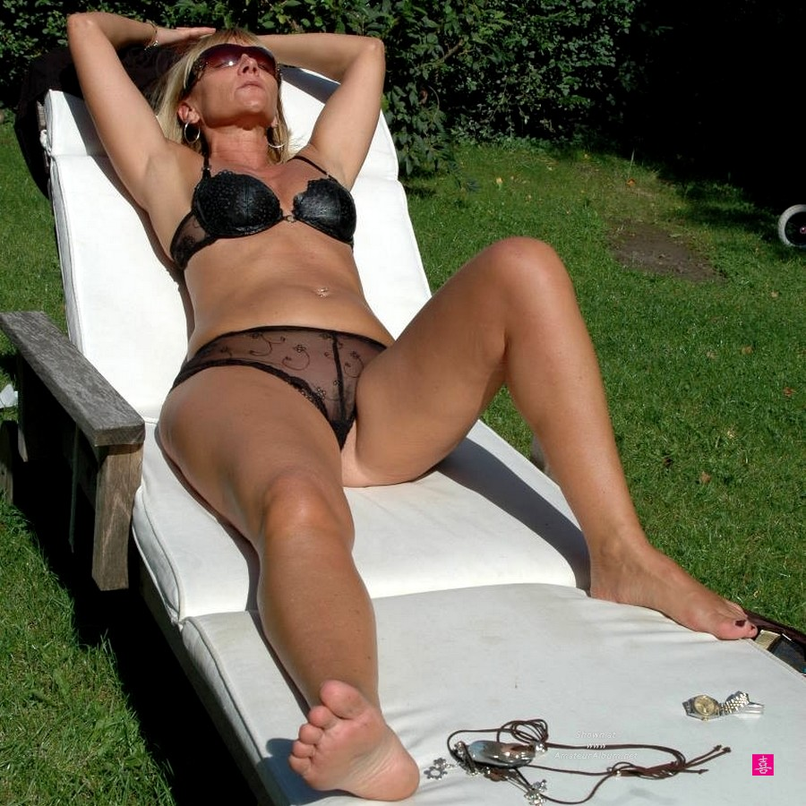 Granny sunbathing