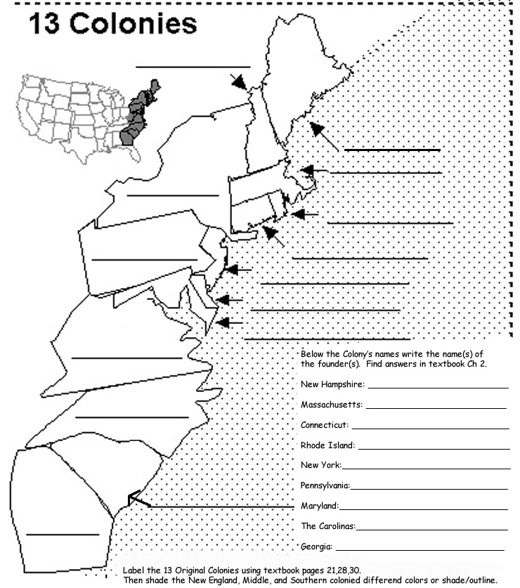 Middle Colonies Map Coloring Pages