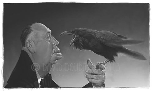 "Caricatura de ""Alfred Hitchcock"" por David Boudreau"